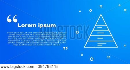 White Line Business Pyramid Chart Infographics Icon Isolated On Blue Background. Pyramidal Stages Gr
