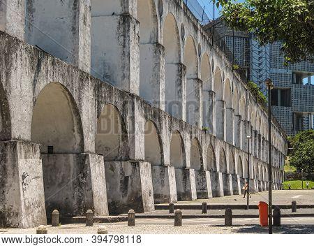 Rio De Janeiro, Brazil - December 24, 2008: Santa Teresa Poor Neighborhood. 3-level Tall Aquaduct, A