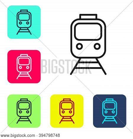 Black Line Train And Railway Icon Isolated On White Background. Public Transportation Symbol. Subway