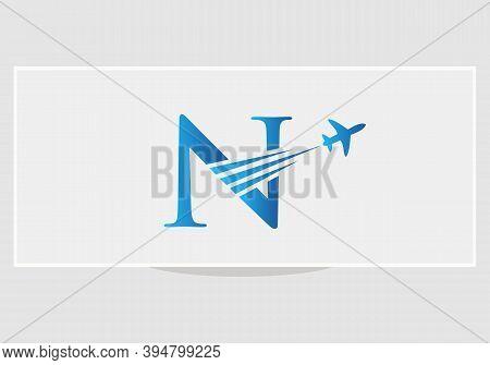 Modern Air Travel N Logo Design With N Letter. Letter N Air Travel Logo Design Template.