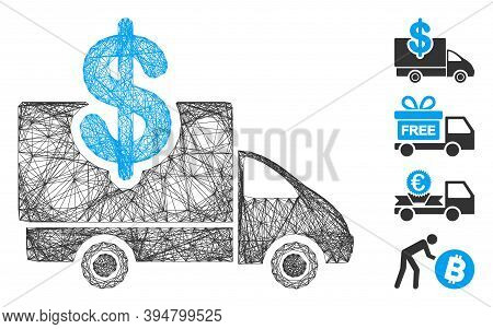 Vector Wire Frame Transportation Costs. Geometric Wire Frame 2d Net Made From Transportation Costs I