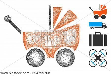 Vector Net Pram. Geometric Linear Carcass 2d Net Made From Pram Icon, Designed From Intersected Line