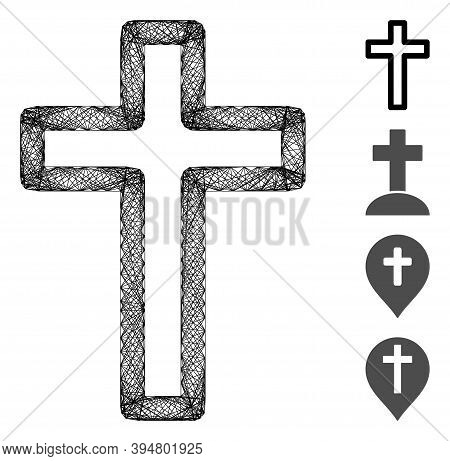 Vector Net Tomb Cross. Geometric Hatched Frame 2d Net Generated With Tomb Cross Icon, Designed With