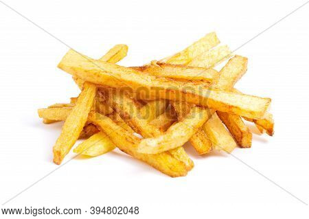 A Pile Of Tasty Rench Fries Isolated On White