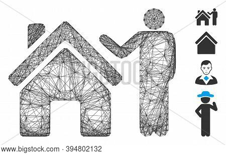 Vector Wire Frame Realty Buyer. Geometric Wire Frame 2d Network Based On Realty Buyer Icon, Designed
