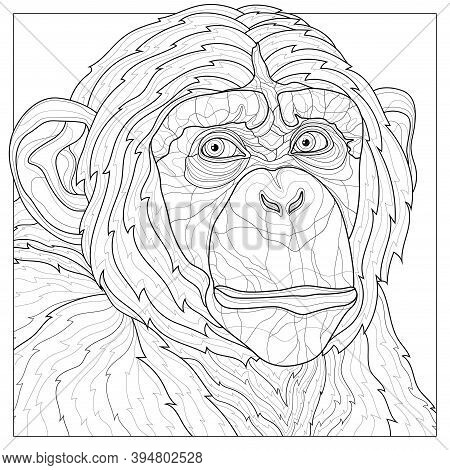 Chimpanzee. Animal.coloring Book Antistress For Children And Adults. Zen-tangle Style.black And Whit