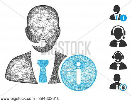 Vector Wire Frame Help Desk Manager. Geometric Hatched Frame Flat Network Made From Help Desk Manage