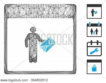 Vector Net Postman Calendar Page. Geometric Wire Carcass 2d Net Generated With Postman Calendar Page