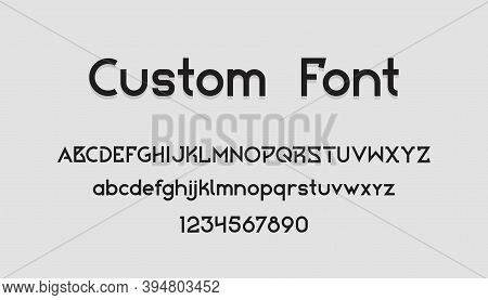 Geometric Font. Uppercase And Lowercase Letters And Numbers. Collection English Text Symbols For Cre