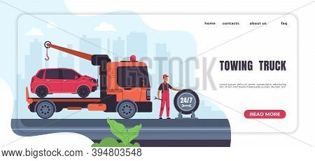 Car Towing Landing Page. Automobile Emergency Service And Roadside Assistance, Truck With Crane And