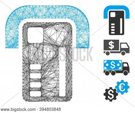 Vector Wire Frame Atm Machine. Geometric Wire Frame 2d Net Made From Atm Machine Icon, Designed With