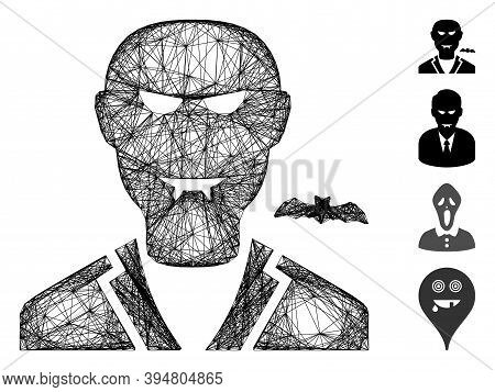 Vector Wire Frame Vampire. Geometric Wire Frame Flat Network Generated With Vampire Icon, Designed F