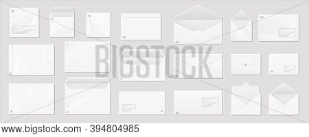 White Envelope. Realistic Mail Mockup. Blank Paper Correspondence Package For Corporate Branding And