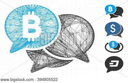 Vector Network Bitcoin Webinar Messages. Geometric Wire Frame 2d Network Generated With Bitcoin Webi