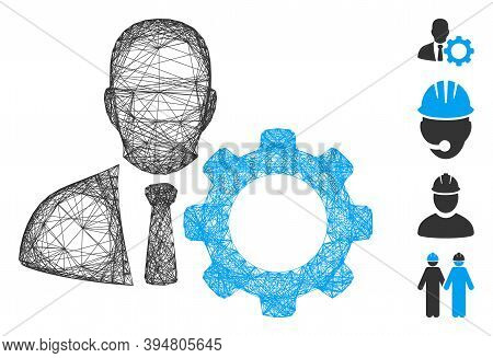 Vector Wire Frame Serviceman. Geometric Wire Frame Flat Network Made From Serviceman Icon, Designed