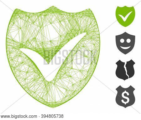 Vector Wire Frame Valid Shield. Geometric Wire Frame 2d Network Generated With Valid Shield Icon, De