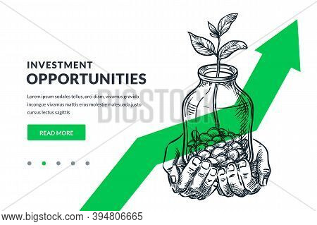 Investment Finance Growth Business Concept. Human Hands Hold Glass Jar With Coins And Tree. Vector S