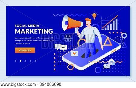 Social Media Digital Marketing Business Concept. Vector Illustration. Online Communication And Adver