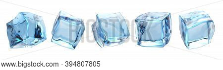 Realistic Ice Cubes. Cold Freeze Water Blocks Different Angles For Alcohol Drink And Cool Aqua Bever