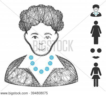 Vector Wire Frame Brunette Woman. Geometric Wire Frame Flat Network Made From Brunette Woman Icon, D