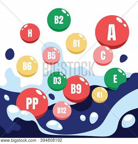 Vitamin Complex. Cartoon Microelements, Round Capsules With Letters And Numbers Marking. Pharmaceuti