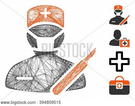 Vector Wire Frame Surgeon. Geometric Wire Carcass 2d Network Generated With Surgeon Icon, Designed W