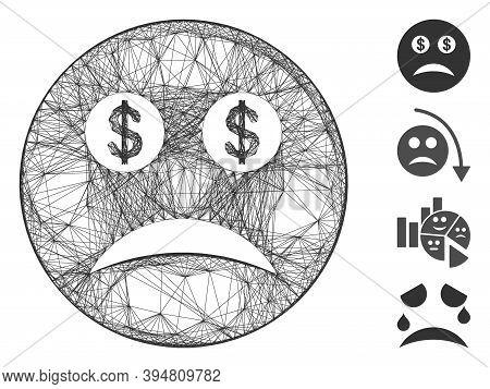 Vector Net Bankrupt Smiley. Geometric Hatched Frame 2d Net Made From Bankrupt Smiley Icon, Designed