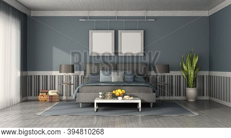 Front View Of A Modern Bedroom With Blue And Gray Double Bed - 3d Rendering