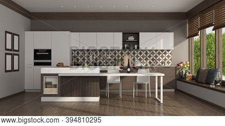 Modern White Kitchen With Island,dining Table And Large Windows - 3d Rendering