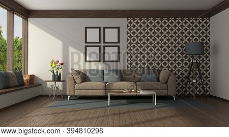 Brown Sofa In Front Of A Wall With Tiles In A Modern Living Room - 3d Rendering