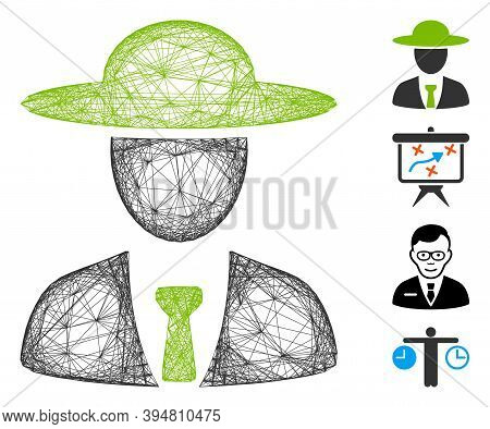 Vector Wire Frame Agronomist Chief. Geometric Wire Frame 2d Network Made From Agronomist Chief Icon,