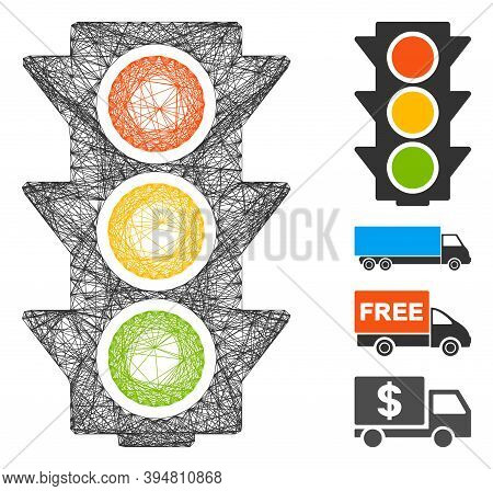Vector Wire Frame Traffic Lights On. Geometric Wire Frame 2d Network Generated With Traffic Lights O
