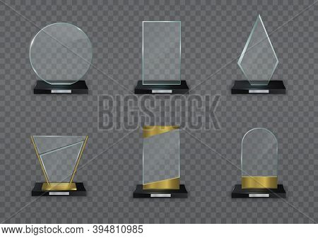 Glass Shiny Trophy On A Transparent Background. Glossy Transparent Prize For Award Illustration. Cry
