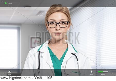 Female Doctor On The Screen Of Videoconferencing Application