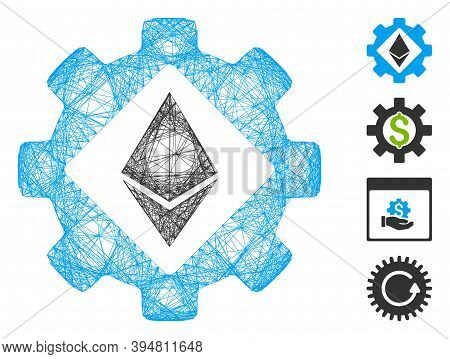 Vector Wire Frame Ethereum Options Gear. Geometric Wire Frame Flat Net Made From Ethereum Options Ge