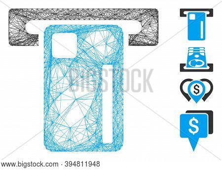 Vector Network Atm Machine. Geometric Hatched Carcass 2d Net Generated With Atm Machine Icon, Design