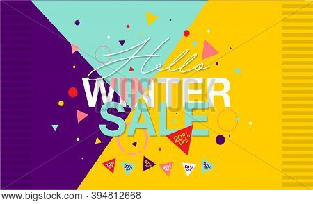 Winter Sale Banner - Vector Flat Design Illustration : Suitable For Business Theme, Shopping Theme,