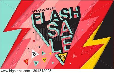 Flash Sale Banner - Vector Flat Design Illustration : Suitable For Business Theme, Shopping Theme, P