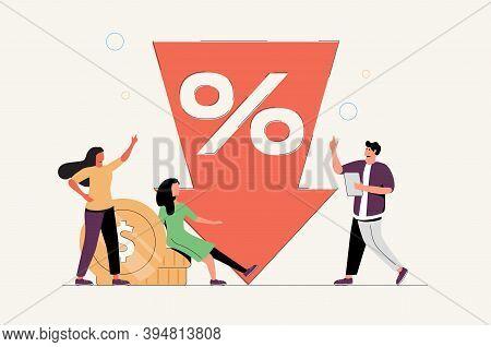 Vector Illustration, Percent Presses Down Arrow, Percent Drop. Low Rate, Special Offer, Loan Concept