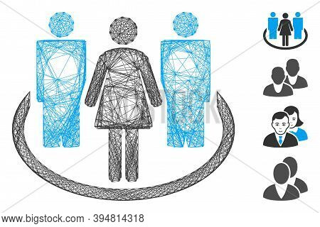Vector Net Society. Geometric Wire Carcass 2d Net Made From Society Icon, Designed From Crossed Line