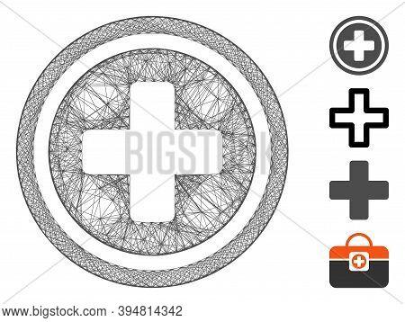 Vector Network Pharmacy Cross. Geometric Linear Carcass 2d Network Made From Pharmacy Cross Icon, De
