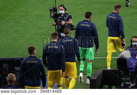 Kyiv, Ukraine - October 10, 2020: Ukrainian Players Go To The Pitch Before The Uefa Nations League G