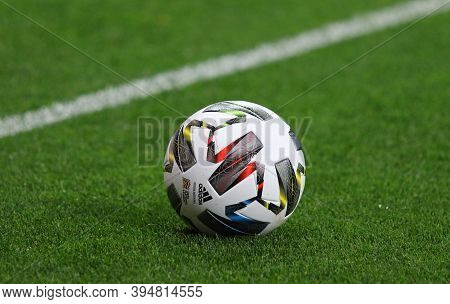 Kyiv, Ukraine - October 10, 2020: Adidas Nations League, Official Match Ball Of Uefa Nations League