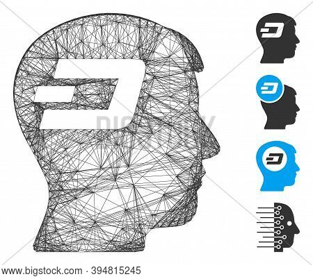 Vector Net Dash Brain. Geometric Hatched Frame 2d Net Made From Dash Brain Icon, Designed From Inter
