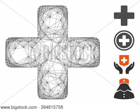 Vector Net Medical Cross. Geometric Hatched Carcass Flat Net Generated With Medical Cross Icon, Desi