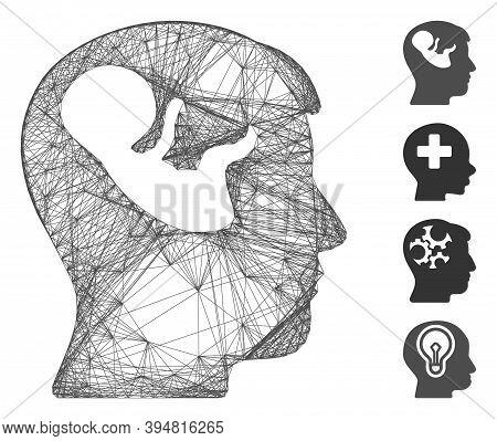 Vector Wire Frame Embryo Mind Head. Geometric Hatched Frame 2d Net Made From Embryo Mind Head Icon,