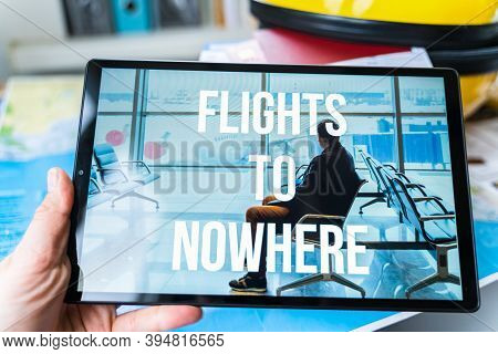 Online Ordering, Buying Tickets In Tablet For Flight To Nowhere. Special Travel, Round Trip During C