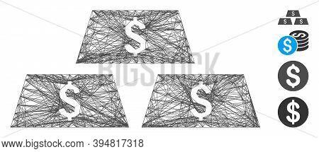 Vector Wire Frame Dollar Bullion Bars. Geometric Linear Frame Flat Network Made From Dollar Bullion