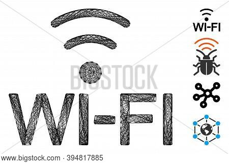 Vector Wire Frame Wi-fi. Geometric Linear Frame 2d Net Generated With Wi-fi Icon, Designed With Cros