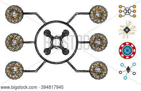 Vector Network Roulette Circuit. Geometric Wire Carcass Flat Network Made From Roulette Circuit Icon